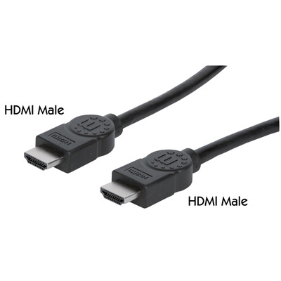 Manhattan HDMI Cable with Ethernet, 4K, Male to Male, 3m, 4K@30Hz, HEC, ARC, 3D, Shielded, Black, Polybag HDMI .....