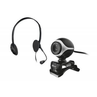 Trust webcam: Exis Chatpack - Zwart, Zilver