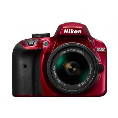 Nikon digitale camera: D3400 + AF-P DX 18-55 mm 1:3.5-5.6G VR - Rood