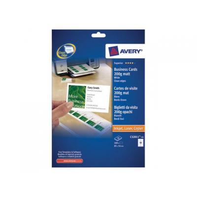 Avery indexkaart: Visitekaart I 85x54 200g mat/pk100