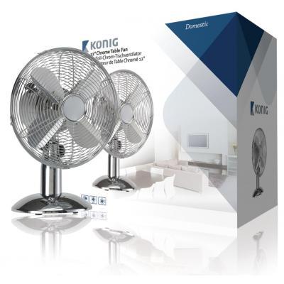 König ventilator: Tafelventilator 30 cm verchroomd 3 standen - Roestvrijstaal
