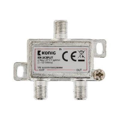 König kabel splitter of combiner: 2-wegs CATV F-splitter 5 - 1218 MHz - Zilver