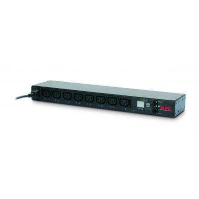 Apc energiedistributie: Rack PDU, Switched, 1U, 10A, 230V, (8x) C13, C14 stekker - Zwart
