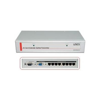 Lindy AV extender: CAT5e/6 8 Port VGA & Audio Transmitter, 250m - Grijs