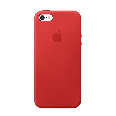 Apple mobile phone case: Leren hoesje voor iPhone SE, Rood