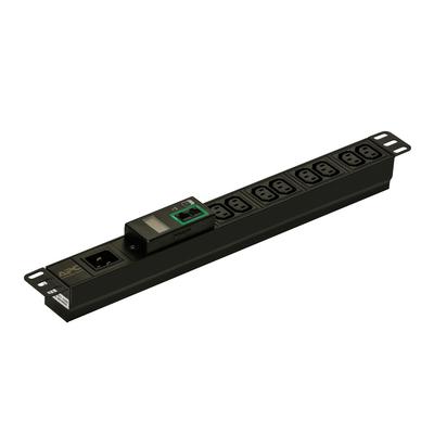 APC Easy PDU EPDU1016M, Metered, 1U, 16A, 230V, (8x)C13, C20 stekker Energiedistributie - Zwart