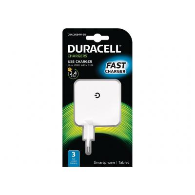 Duracell 2x2.4A USB Phone/Tablet Charger Oplader - Wit