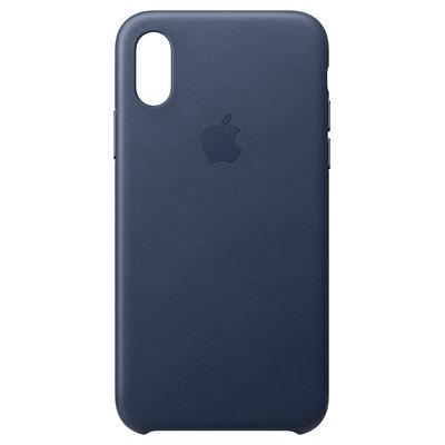 Apple mobile phone case: Leren hoesje voor iPhone XS - Middernachtblauw