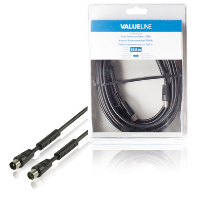 Valueline Coax antennekabel, 100dB, coax mannelijk - coax vrouwelijk, 10.0 m, zwart Coax kabel