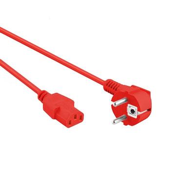 EECONN Netsnoer, Schuko Haaks (CEE 7/7) - C13, Kabel: H05VV-F 3x 0.75mm², Kleur: Rood, Lengte: 0.6 meter .....