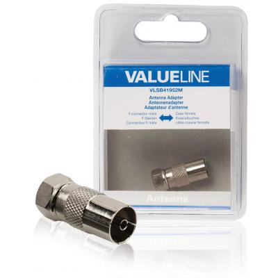 Valueline coaxconnector: Antenne-adapter, F-connector male - coax female, metaal - Zilver