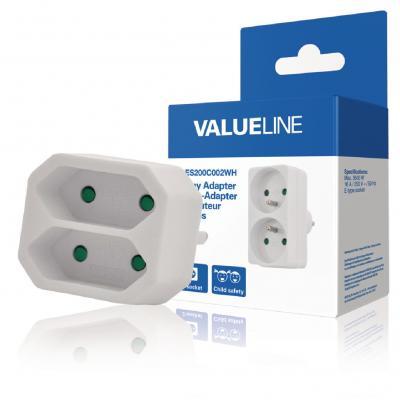 Valueline batterij: Valueline, 2-wegs Schuko naar Euro Adapter (Wit)