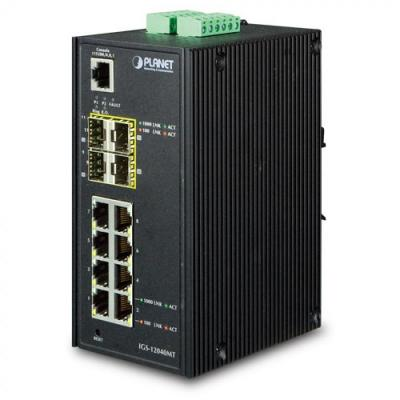 ASSMANN Electronic Industrial 8-Port 10/100/1000T + 4-Port 100/1000X SFP Managed Switch - Zwart
