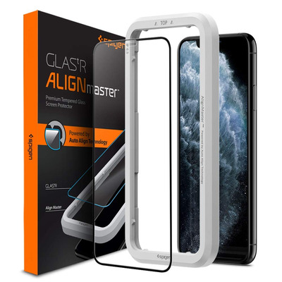 Spigen iPhone 11 Pro Max AlignMaster Full Coverage Screen protector - Zwart,Transparant