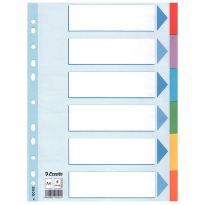 Esselte 225 x 2 x 297mm, A4, 1 - 6 Indextab - Multi kleuren