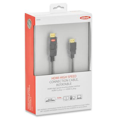 Ednet 5m HDMI m/m HDMI kabel - Zwart
