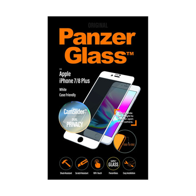 PanzerGlass Apple iPhone 7/8 Plus Edge-to-Edge Privacy Camslider Screen protector - Transparant
