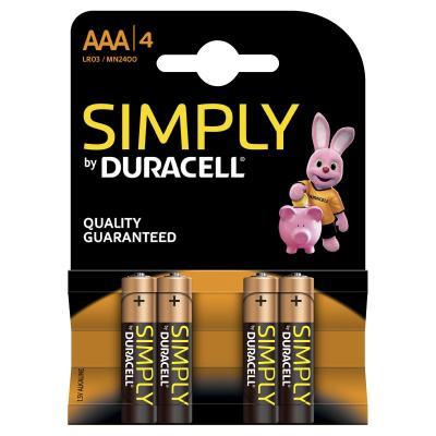 Duracell batterij: LR03 4-BL Simply - Zwart, Goud