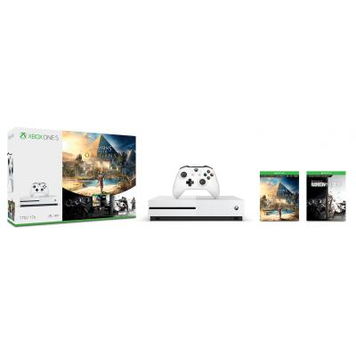 Microsoft spelcomputer: Xbox One S 1TB Assassin's Creed Origins Bundle - Wit