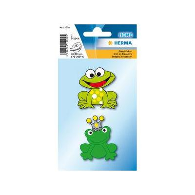Herma naaiaccessoire: 2 pcs. Iron on sticker frog - Groen