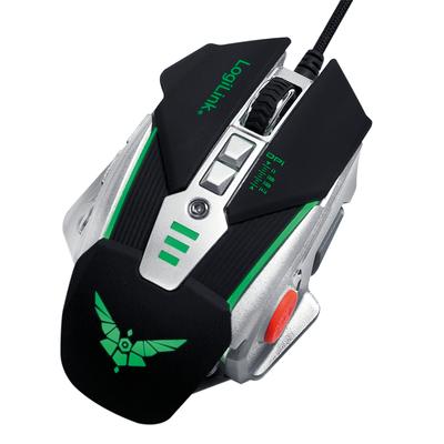 LogiLink USB Gaming Mouse, Optical, 1200/1600/2400/3200DPI, Muti-color LED lighting Muis - Zwart,Zilver