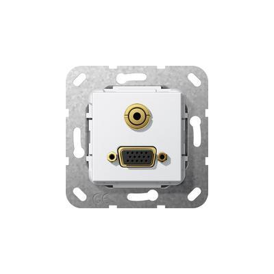 GIRA Basiselement VGA 15-polig en mini-jack 3,5 mm Koppeling VGA, verloopkabel mini-jack, zuiver wit glanzend .....