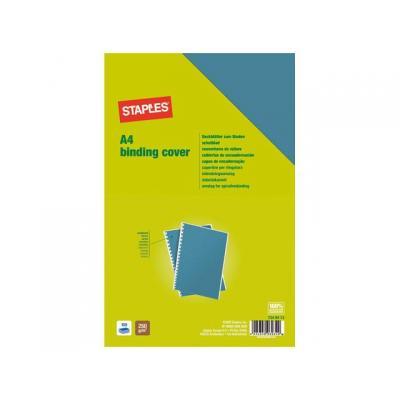 Staples binding cover: Schutblad SPLS A4 gladkarton blauw/pk100