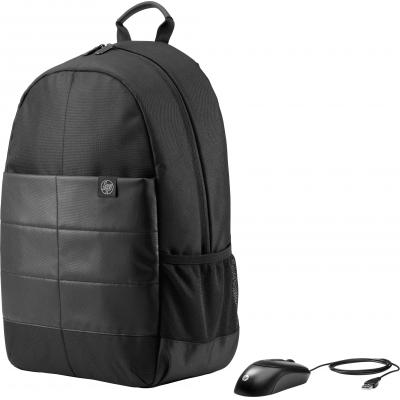 Hp rugzak: 15.6 Classic Backpack & Mouse - Zwart