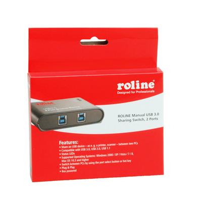 ROLINE Manual USB 3.0 Switch, 2 Ports KVM switch - Zwart