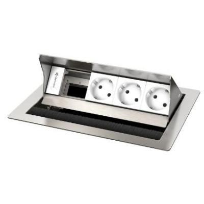 Kindermann 4-fold, 3 x mains Inbouweenheid - Roestvrijstaal, Wit