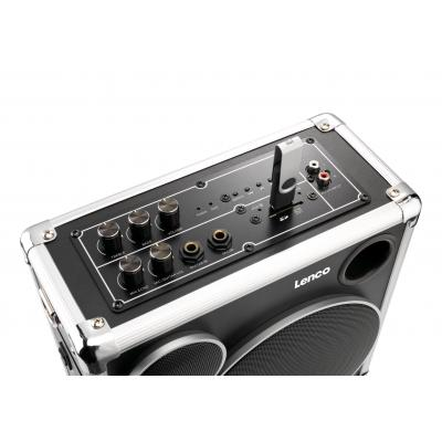 Lenco draagbare luidspreker: Bluetooth, 30W, 12V 2.6Ah, USB, SD, AUX, 230V AC, 5.12kg - Zwart, Zilver