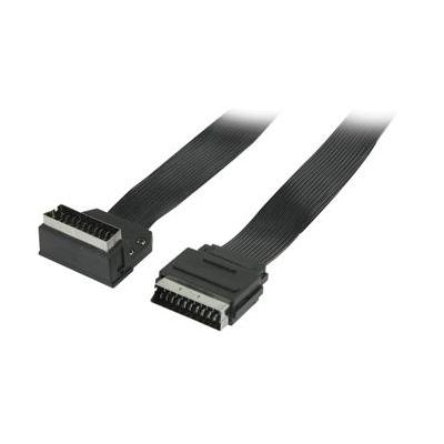 Valueline : Flat SCART cable SCART male - SCART male 90° angled 2.00 m black - Zwart