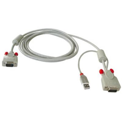 Lindy Combined KVM cable, 3m KVM kabel - Zwart