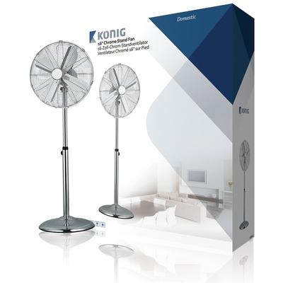 König ventilator: Staande ventilator 40 cm verchroomd 3 standen - Roestvrijstaal