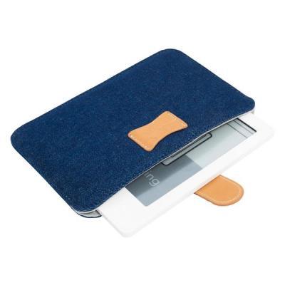 Gecko apparatuurtas: - Universele e-Reader Hoes (Blauw / Grijs Denim)