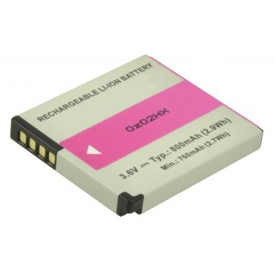 2-power batterij: Digital Camera Battery, Li-Ion, 3.6V, 800mAh, Grey/Pink - Grijs, Roze