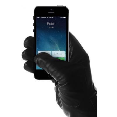 Mujjo : Leather Touchscreen Gloves, Unisex, Size 8 - Zwart