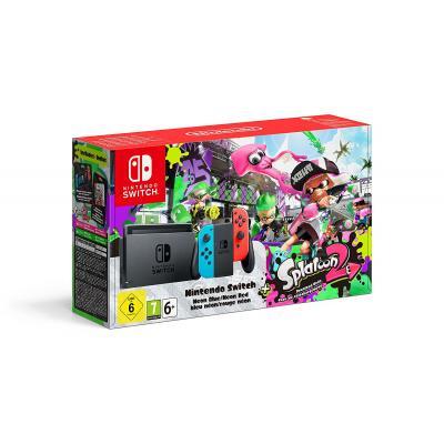 Nintendo spelcomputer: Switch Console Splatoon 2 Bundel (Neon Blauw / Neon Rood)