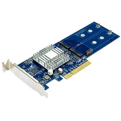 Synology interfaceadapter: 2x M.2 SSD, PCIe 2.0 x8 - Blauw