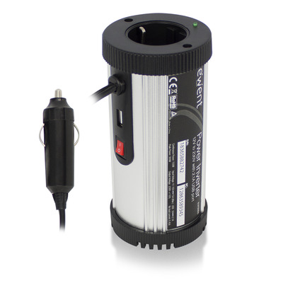 Ewent 150W Omvormer 12V naar 230V met een 2.1A USB poort Netvoeding - Zwart,Zilver