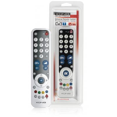 König afstandsbediening: Universal Remote Control, PC-programmable, f/ 2 devices, Black / Silver - Zilver