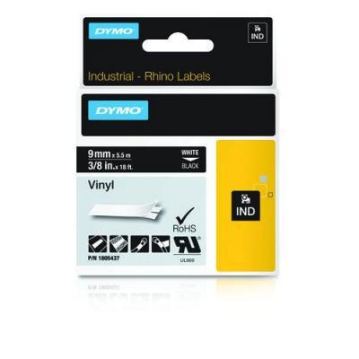 Dymo labelprinter tape: Wit op zwart, 9mm x 5.5m