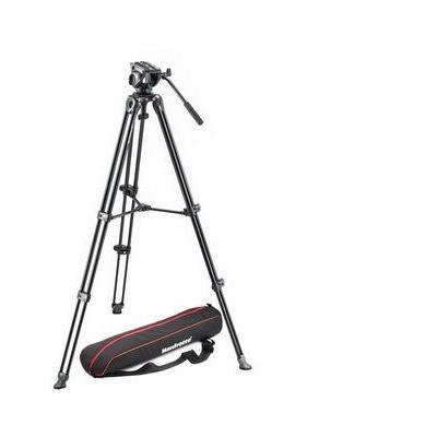 Manfrotto tripod: Lightweight fluid video system, twin legs, middle spreader - Zwart