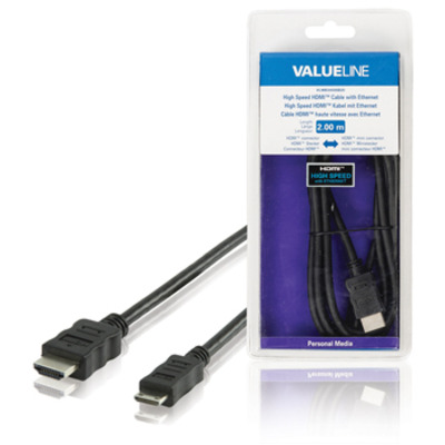 Valueline High Speed HDMI-kabel met ethernet HDMI-connector - HDMI mini-connector 2.00 m zwart HDMI kabel