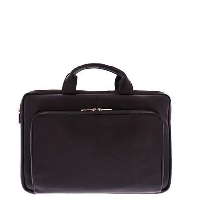 Plevier 15-15.6 inch sleeve/tas nappa leer met voorvak, zwart Laptoptas