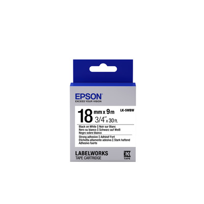 Epson Strong Adhesive Tape- LK-5WBW Strng adh Blk/Wht 18/9 Labelprinter tape