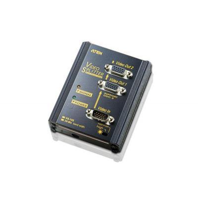 Aten video splitter: 2 Port Video Splitter Bandwidth: 250MHZCompact Size(100x75x20 mm_LxWxH) - Zwart