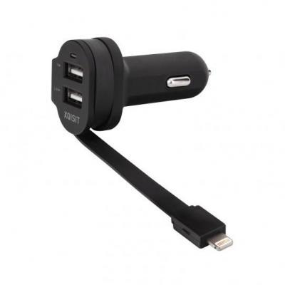 Xqisit Dual Car Charger 6A lightning / USB Oplader - Zwart