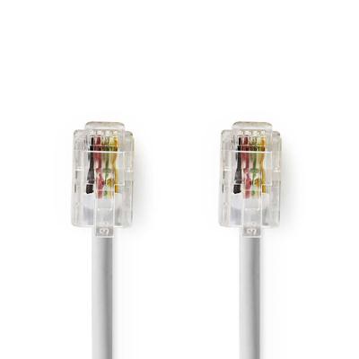 Nedis Telecom Cable, RJ-10 Male - RJ-10 Male, 2 m, White Telefoon kabel - Wit