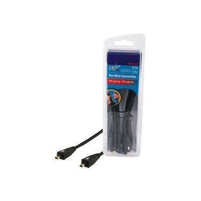 Hq fireware kabel: 1.8m 2x 4-p - Zwart